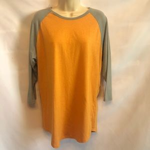 Lularoe 3/4 length sleeve orange and grey shirt.
